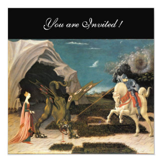 """SAINT GEORGE AND THE DRAGON,brown ,blue red black 5.25"""" Square Invitation Card"""