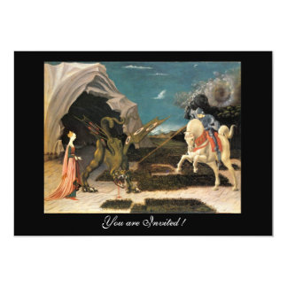 """SAINT GEORGE AND THE DRAGON,brown ,blue red cream 5"""" X 7"""" Invitation Card"""