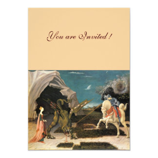 """SAINT GEORGE AND THE DRAGON,brown ,blue red pink 5"""" X 7"""" Invitation Card"""