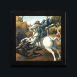 """Saint George and the Dragon Keepsake Box<br><div class=""""desc"""">Saint George and the Dragon, by the Italian Renaissance master, Raphael. It was completed in 1506. The art work was first painted for the court of Urbino. It depicts a Christian Roman soldier (St. George) who defended the daughter of a king that was a pagan, through stabbing the dragon. This...</div>"""