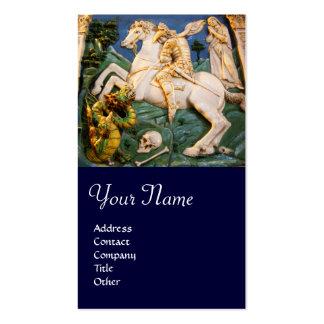 Saint George,Dragon and Princess Monogram blue Business Card Templates