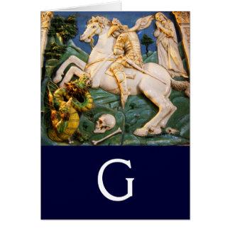 Saint George,Dragon and Princess Monogram Card