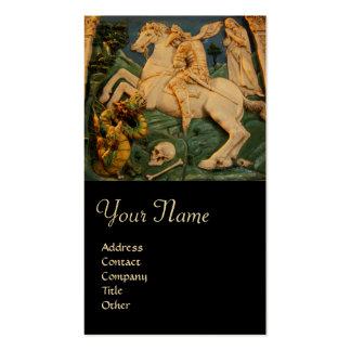 Saint George, Dragon and Princess Monogram Gold Business Card Template