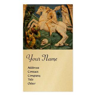 Saint George,Dragon and Princess Monogram Gold Business Card Template