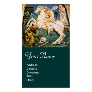 Saint George,Dragon and Princess Monogram green Business Cards