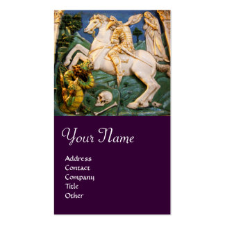 Saint George,Dragon and Princess Monogram purple Business Card