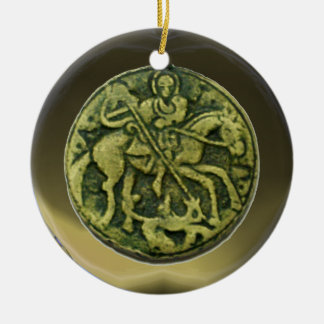 SAINT GEORGE, DRAGON /MADONNA AND CHILD MEDALLION Double-Sided CERAMIC ROUND CHRISTMAS ORNAMENT
