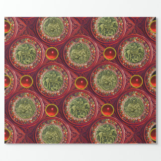 SAINT GEORGE, DRAGON /MADONNA AND CHILD Red Ruby Gift Wrap Paper