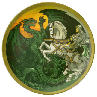 Saint George Dragon Vintage Style Dinner Plate