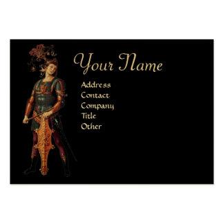 SAINT GEORGE Monogram, Black Gold Metallic Paper Business Card