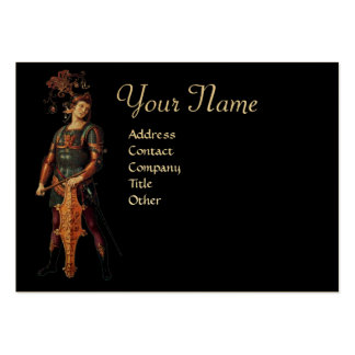 SAINT GEORGE Monogram, Black Gold Metallic Paper Large Business Cards (Pack Of 100)