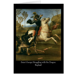 Saint George Struggling with the Dragon Greeting C Greeting Card