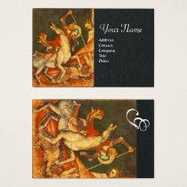 Saint George's Battle,Dragon Monogram Black Paper Business Card