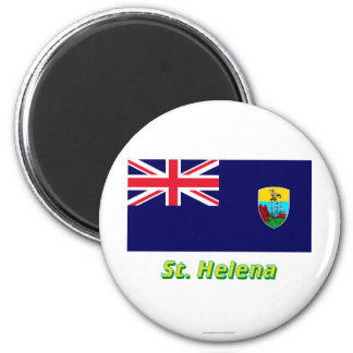 Saint Helena Flag with Name 2 Inch Round Magnet