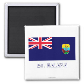 Saint Helena Flag with Name 2 Inch Square Magnet
