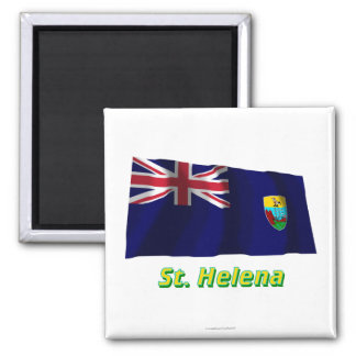 Saint Helena Waving Flag with Name 2 Inch Square Magnet