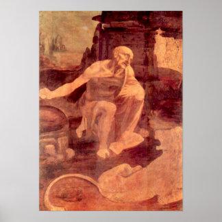 Saint Hieronymus by Leonardo da Vinci Poster