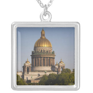 Saint Isaac Cathedral, from the Neva River Silver Plated Necklace