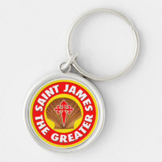 Saint James the Greater Silver-Colored Round Keychain
