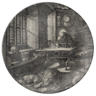 Saint Jerome in His Study by Albrecht Durer Porcelain Plate
