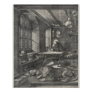 Saint Jerome in His Study by Albrecht Durer Poster