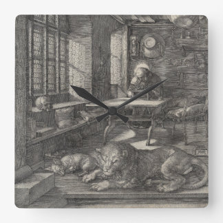 Saint Jerome in His Study by Albrecht Durer Square Wall Clock