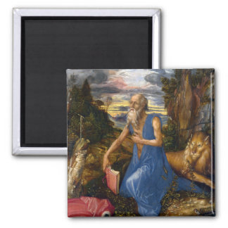 Saint Jerome in the Wilderness by Durer 2 Inch Square Magnet
