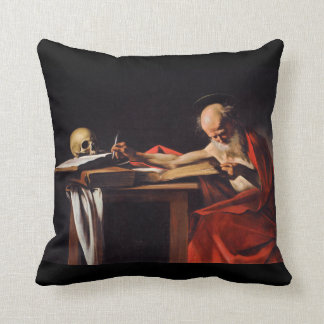 Saint Jerome Writing by Michelangelo Caravaggio Pillow