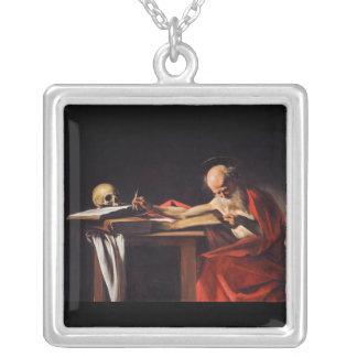 Saint Jerome Writing by Michelangelo Caravaggio Square Pendant Necklace