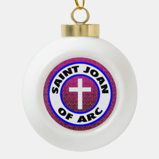 Saint Joan of Arc Ceramic Ball Christmas Ornament