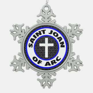 Saint Joan of Arc Snowflake Pewter Christmas Ornament
