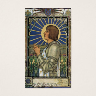Roman catholic business cards templates zazzle saint joan of arc stained glass image business card colourmoves