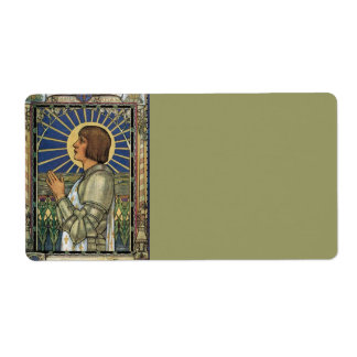 Saint Joan of Arc Stained Glass Image Label