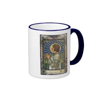 Saint Joan of Arc Stained Glass Image Ringer Coffee Mug