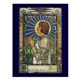 Saint Joan of Arc Stained Glass Image Postcard