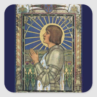 Saint Joan of Arc Stained Glass Image Square Sticker