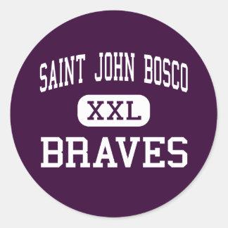 Saint John Bosco - Braves - High - Bellflower Round Stickers