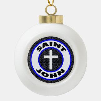 Saint John Ceramic Ball Christmas Ornament