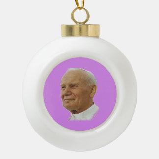 Saint John Paul Ceramic Ball Christmas Ornament