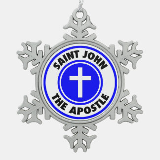 Saint John the Apostle Snowflake Pewter Christmas Ornament