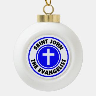 Saint John the Evangelist Ceramic Ball Christmas Ornament