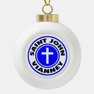 Saint John Vianney Ceramic Ball Christmas Ornament