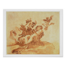 Saint Joseph adoring the Christ Child (pen, ink, b Poster