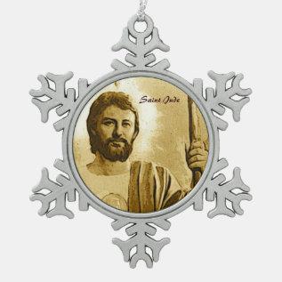 Saint Jude Snowflake Pewter Christmas Ornament at Zazzle