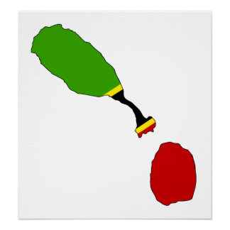 Saint Kitts And Nevis Flag Map full size Poster
