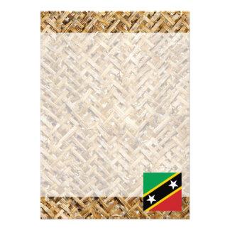 "Saint Kitts and Nevis Flag on Textile themed 5"" X 7"" Invitation Card"