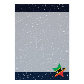 """Saint Kitts and Nevis Flag Star In Space 5"""" X 7"""" Invitation Card"""