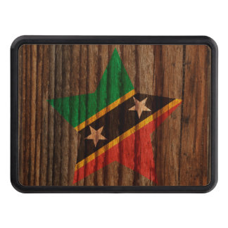 Saint+Kitts+and+Nevis Flag Star on Wood theme Trailer Hitch Covers