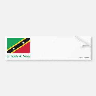 Saint Kitts and Nevis Flag with Name Car Bumper Sticker