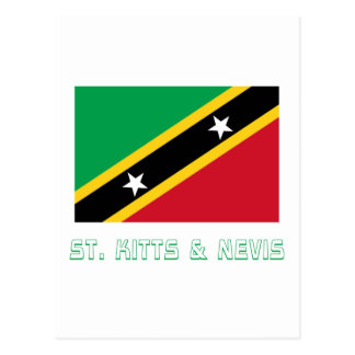 Saint Kitts and Nevis Flag with Name Postcard
